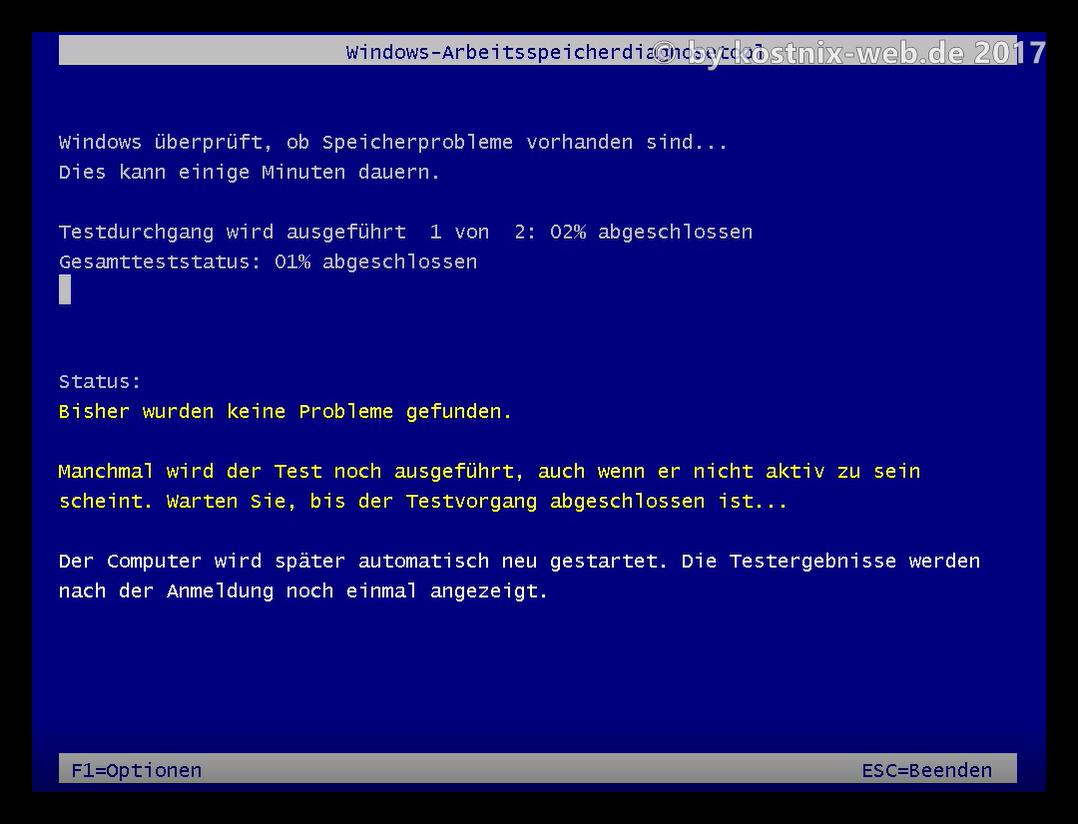 Speichertest Windows 10