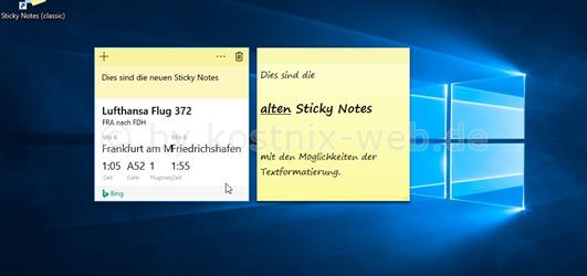 windows kurznotizen